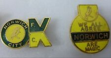 NORWICH CITY Enamel FOOTBALL Pin Badges x 2 OLD/ VINTAGE COFFER OK & MAGIC