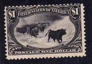 US 292 $2 rich bright Black mint OGH 1888 Cattle in Storm Most Beautiful $1400