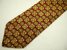 "Brooks Brothers Makers Mens Necktie Tie Red Gold Sun Geometric Metal Silk 57"""