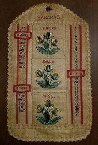 1960s Vintage Straw Raffia Hanging Bill Letter Holder Perpetual Calendar Bahamas