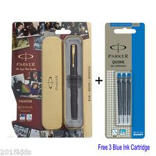 Parker Frontier Matte Black Gold Trim Nib Ink Fountain Pen + 3 Blue Ink USA SELL