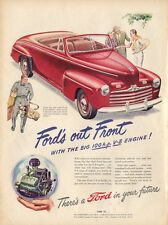1946 Ford PRINT AD Red Convertible 2-dr Beautifully illustrated ART Tennis Golf