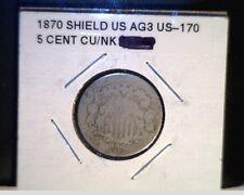 1870 US Shield Nickel, Circulated Average Grade, Cu/Nk (US-170)