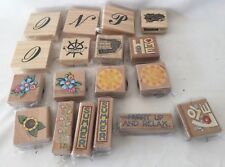 Mixed Lot Of 18 Michaels Wood Mounted Rubber Stamps