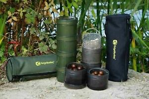 RidgeMonkey Modular Hook Bait Pots x 4 & Case - Green or Black Ridge Monkey