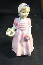 """Vintage Royal Doulton 4-1/2"""" Tinkle Bell Figurine Pink Dress, Flowers, Basket"""