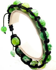 SEMIPRECIOUS GREEN  STONE FACETED BALL BEADED BLACK CORD SHAMBALLA  BRACELET