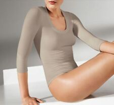 WOLFORD PISA STRING BODY 76030, BODYSUIT, SMALL, in silver cloud 7480, NWT