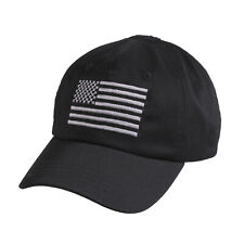 Black Tactical Operator Cap Military Contractor Hat with Embroidered USA Flag