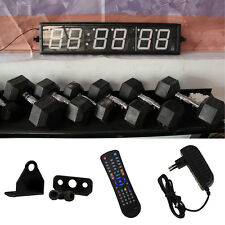 Interval Timer 6 Digit Large Wall Clock Blue Red Remote WOD Train Gym