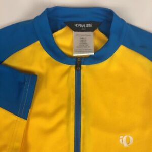 Pearl Izumi Mens Cycling Jersey Yellow Blue Color Block Mock Neck Zip Pockets L