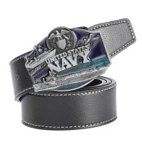 Men's Leather Belt Metal Buckle Navy Pattern Western Cowboy Style Belt Strap