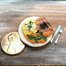 Dollhouse miniature food Grilled Salmon with Vegetables 1:12