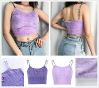 Women Tank Tops Streetwear Crop Top Tees Faux Fur Slim Fit Camisole Hot Clubwear