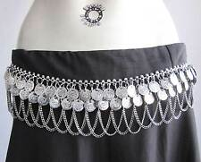 Tribal Fusion Bellydance Metal Coin Chain Dres Belt Boho Gypsy Vintage Halloween