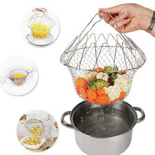 Chef Strain Fry Frying Basket Strainer Foldable Washable Kitchen Gadgets