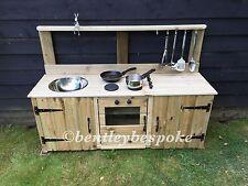 child's wooden mud kitchen garden playroom playground nursery school handmade