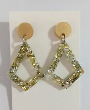 Kite Dangle Earrings, Pearl Gold Silver Acrylic, Glitter, Surgical Steel Stud