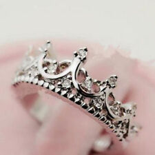 US - Fashion Princess Women Girl Silver Rhinestone Crown Ring Size 8#
