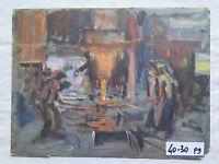 Alte Malerei Derartige Öl auf Tabelle Original Jahre 50 Arbeiter in Schmelzer p9