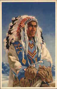 Sioux Native Indian Johnny Powderface Christofferson Publ in Banff Postcard