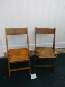 Antique Vintage Slat Wood Folding Chair Snyder Chair Co. USA - Pair