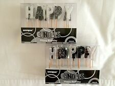 BLACK/ SILVER SPARKLE HAPPY BIRTHDAY CANDLES PARTY OR OTHER SPECIAL OCCASSION