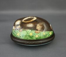 Halcyon Days Enamels Oval Figural Rabbit Hinged Box Brown Bunnies Yellow Flowers