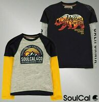 Boys SoulCal Crew Neck Mock Layer Long Sleeve Printed T Shirt Sizes Age 7-13 Yrs