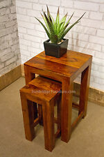 Solid Jali Sheesham Wood Nest of 2 Chunky Side Occassional Tables H247 Hardwood