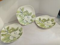 """Vintage Red Wing Pottery Hand Painted Magnolia 10 1/4"""" Dinner Plates x3"""