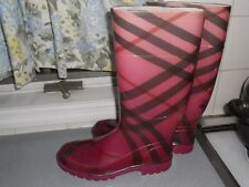 AUTHENTIC BURBERRY BLACK PURPLE CHECK RUBBER LADIES BOOTS ITALY SZ 39 USA 9