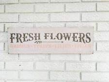 "Rustic Wood Sign - ""Fresh Flowers"" Fixer Upper Woman cave Garden"