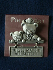 Spoontiques Pin Art -Nurse and Young Patient Bears Pin-Nurses Make It All Better