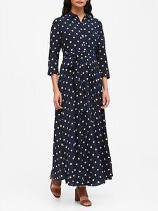 Banana Republic Navy & Beige Dot Maxi Shirt Dress Size 4