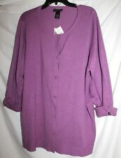 NWT LANE BRYANT WOMEN'S PURPLE 3/4 SLEEVE BUTTON FRONT CARDIGAN SWEATER 22 / 24!