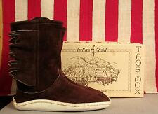 Vintage Taos Mox Leather Moccasins Indian Maid New Old Stock w/Box 6 Chocolate