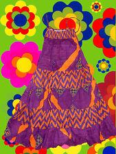 176✪ 60er 70er Jahre Blumenkinder Maxi dress Kleid Hippie Boho Ethno lila orange