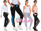 Womens Warm Sport Striped Pants Pockets Jogging Fleece Bottoms Joggers FZ02