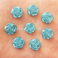 NEW 40PCS 12mm pearl rose beads flower Flatback Wedding Buttons crafts DIY/blue