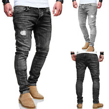Herren Jeans Hose Slim Fit Röhrenjeans Vintage Blau / Grau / Schwarz NEU