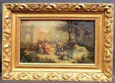 19th c. French School Painting Amorous Couple in a Garden Oil on canvas