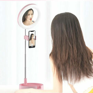 Make Up Ring Light Extendable & Portable Stand With Mirror & Storage 3 Level LED