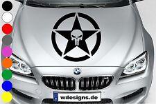 WD Autoaufkleber THE PUNISHER TOTENKOPF STERN STAR SKULL Aufkleber Motorhaube