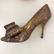 "Ladies Shoes Size 6 Gold TED BAKER 4"" Stiletto Heel Peep Toe Feature Bow Party"