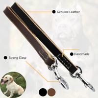 """Traffic Short Dog Leash Heavy Duty Lead 12"""" long For Training Genuine Leather"""
