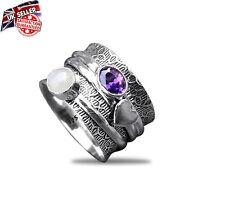 Solid 925 Sterling Silver Amethyst Rainbow Moonstone Mediation Spinner Ring