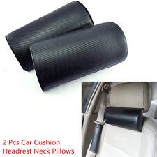 2 Pcs Carbon Fiber Embroidery Car Travel Reat Cushion Seat Headrest Neck Pillows