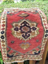 "ANTIQUE  1930  FULL PILE TURKISH  KONYA  SMALL RUG   3'2"" X 1'10""  GREAT COLORS"