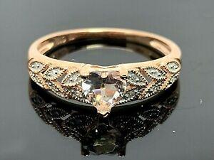 10K Rose Gold Heart Shape Morganite and Diamond 0.50ctw Women's Ring SZ 7